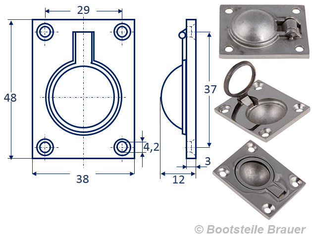 Bodenheber Einlassgriff  38 x 48 mm Edelstahl A4 eckig Lukenheber